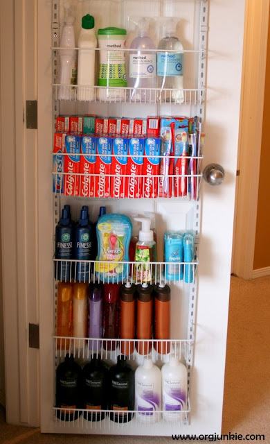 Making the Most of Small Spaces with an over the door rack at Im an Organizing Junkie