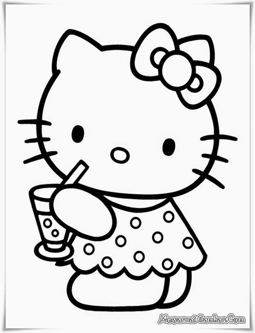 Download Sketsa Gambar Kartun Hello Kitty