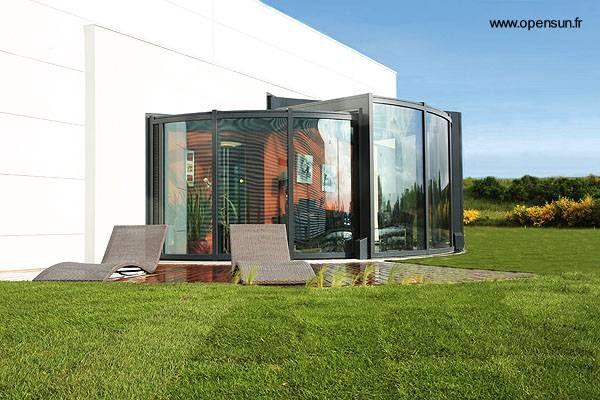 Arquitectura de casas cerramientos redondos con cristales - Casas de troncos redondos ...