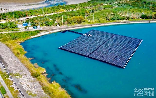 馬鞍後池水上光電站面積比約3.3%,共設置1040片高效能太陽光電發電模組,裝置容量300瓩(0.3MW)。