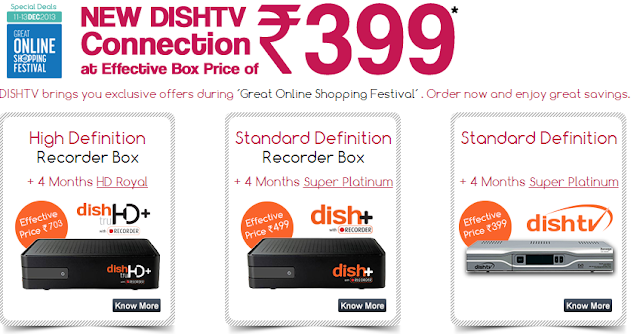 DTH Offer : Buy Dish TV online at Only Rs.399