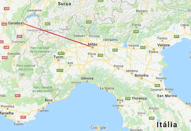 Mapa da viagem de Milão a Genebra