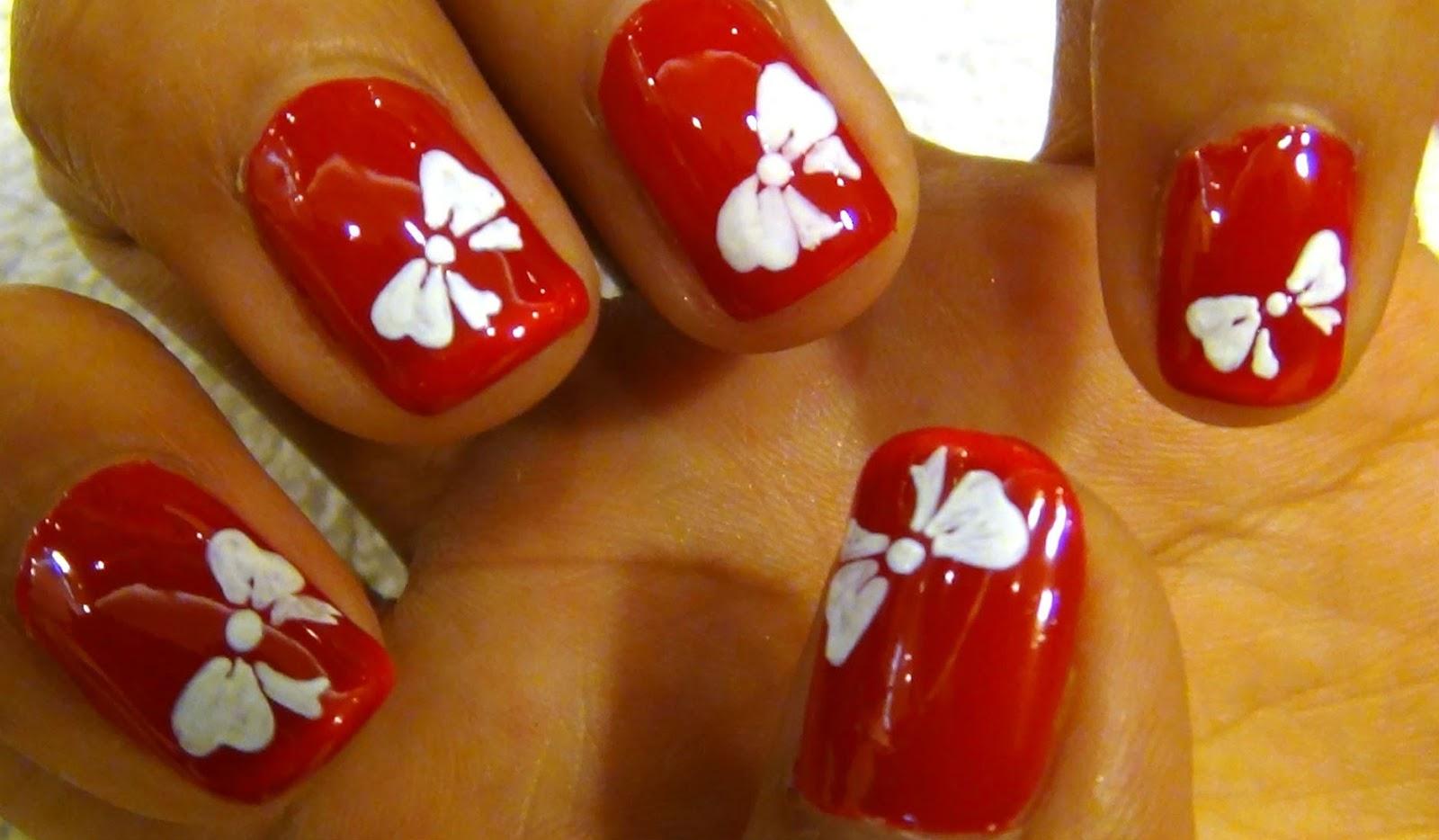 Designs Art Nail Polish Red Nails White Bow Nails Art Designs No 43