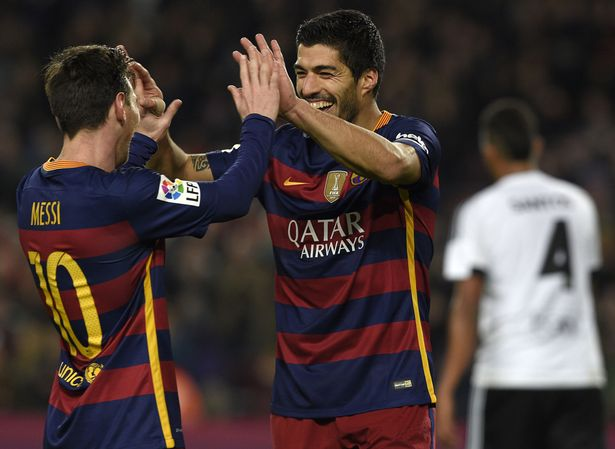 Duo: Messi and Suarez hit seven between them against Valencia