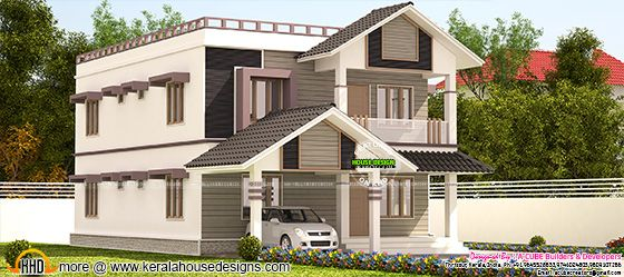 2774 square feet 4 bedroom sloping roof home
