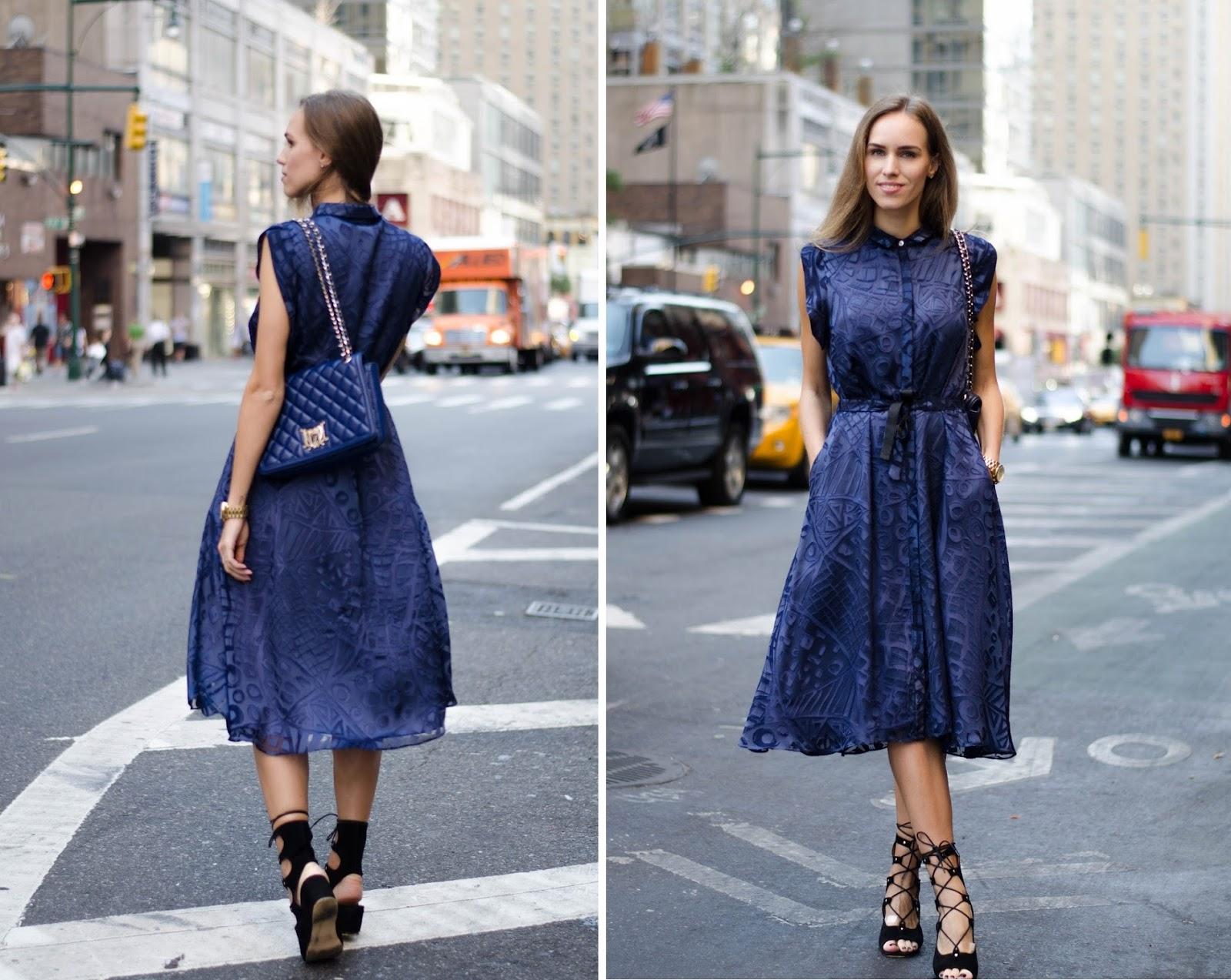 iris janvier blue silk midi shirt dress