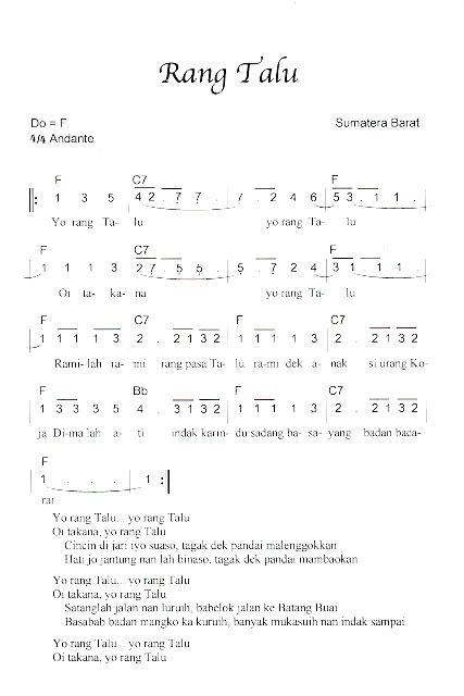 Not Angka Pianika Lagu Rang Talu (Sumatera Barat)
