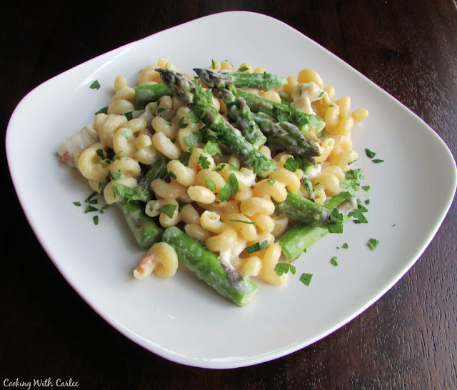 curly pasta with creamy sauce, asparagus and chicken on plate