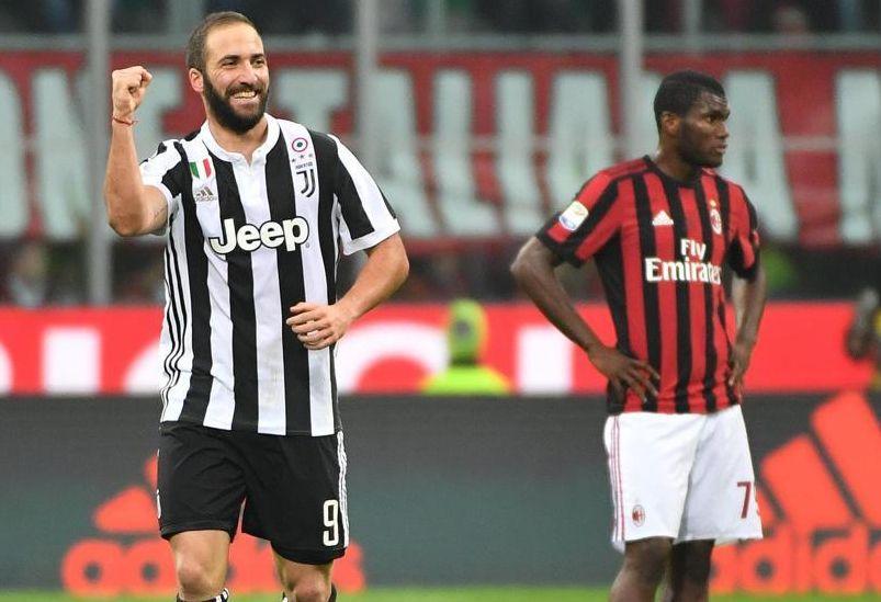 Milan-Juventus: Risultato firmato da doppietta Higuain che fa 101 gol in Serie A