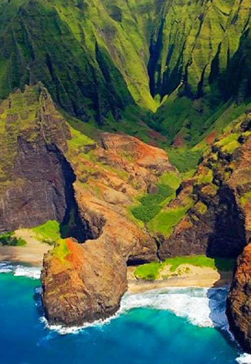 The Nā Pali Coast State Park encompasses 6,175 acres  of land and is located in the center of the rugged 16 miles  along the northwest side o