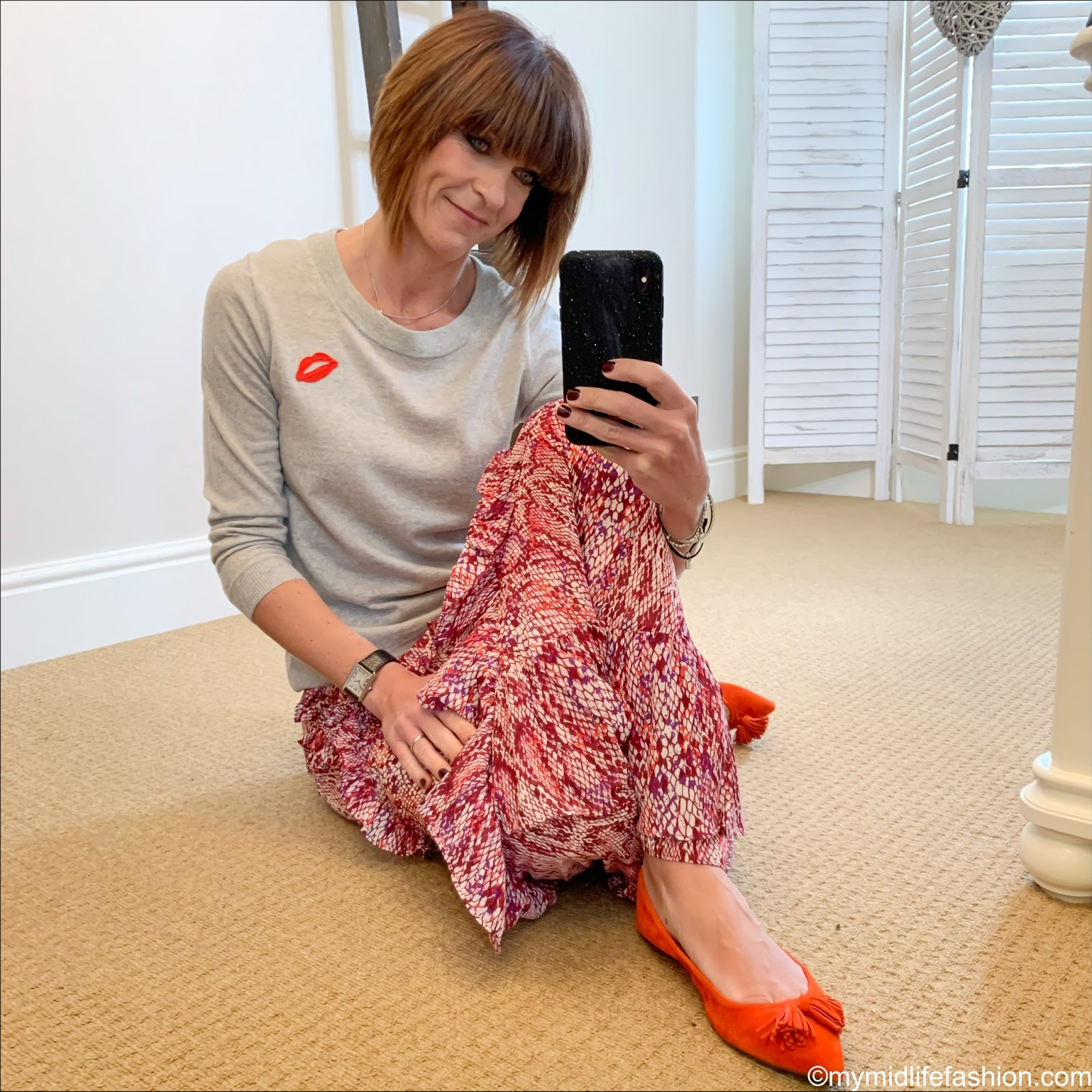 my midlife fashion, j crew tippi sweater, amazon glamorous snake print ruffle maxi skirt, j crew Lottie tassel suede flat shoes