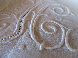 antique linen monogrammed sheet for the french chateau
