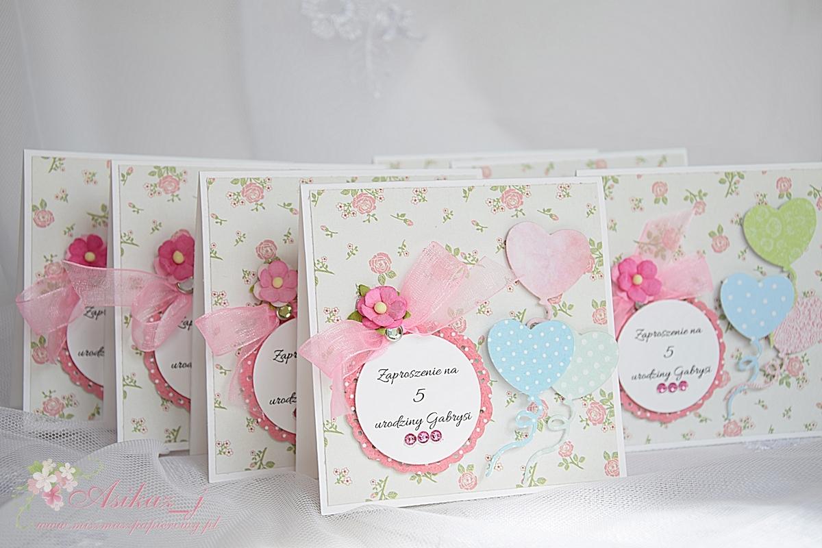 Miszmasz Papierowy Słodko Różowe Zaproszenia Urodzinowe