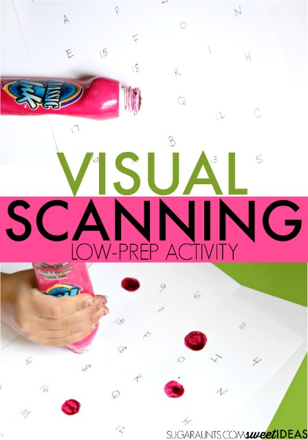 Fun and easy Visual Scanning Activity using paint dobbers