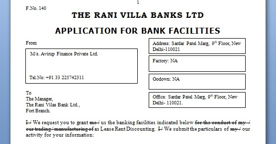 Bank Facilities Agreement And Application Letter In Word