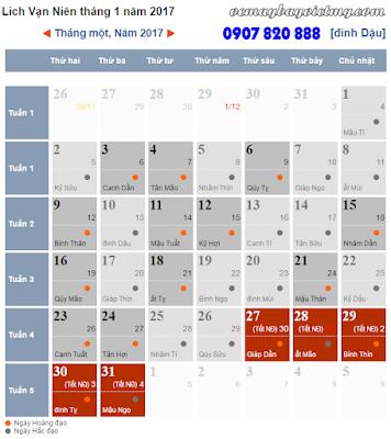 Xem lịch Tết 2017
