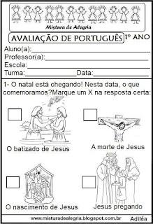 Avaliação de português 1º ano do 4º bimestre