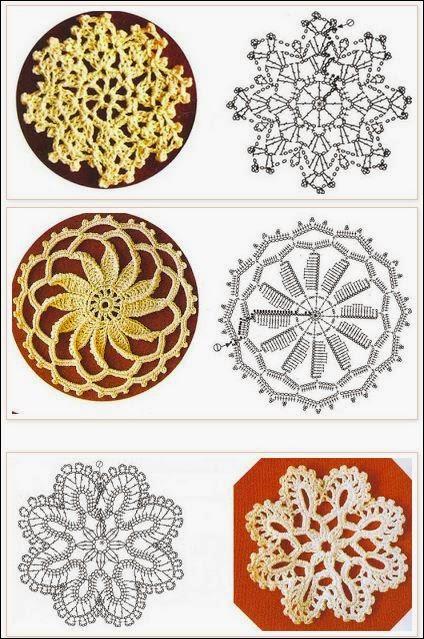 Media docena de mini carpetas circulares al crochet / diagramas ...