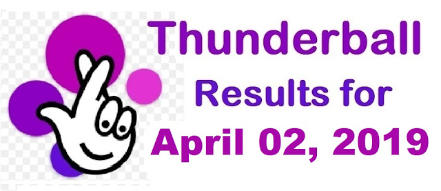 Thunderball results for Tuesday 02 April 2019