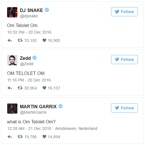 Tweet DJ Snake, Zeed dan Garrix Telolet