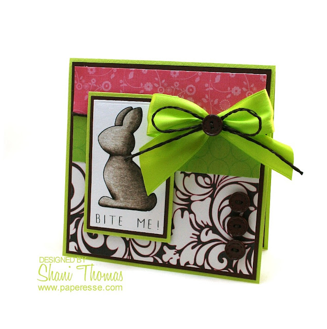 Chocolate bunny funny Easter card idea with Whimsie Doodles digistamp, design by Paperesse.