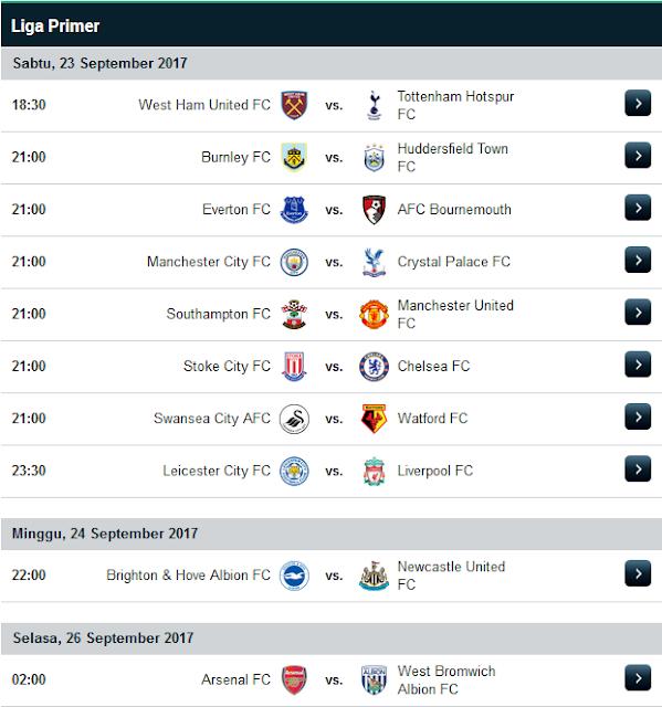 Jadwal Liga Inggris Musim 2017/2018 Terupdate Minggu Ke 6