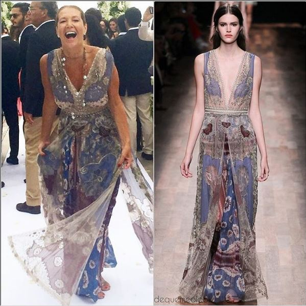 Montagem dona Donata e ao lado seu vestido em desfile usado por modelo