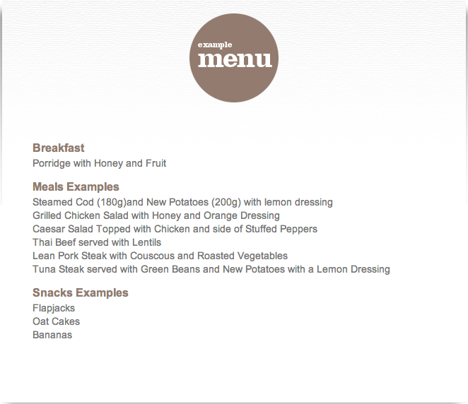 Hillmotts bootcamp example menu