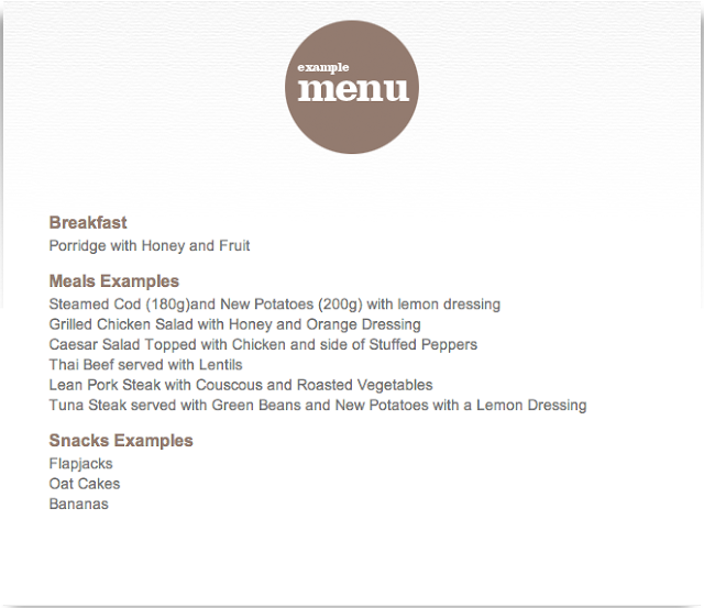 Hillmotts bootcamp example menu