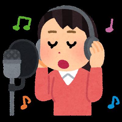 レコーディングをする歌手のイラスト(女性)
