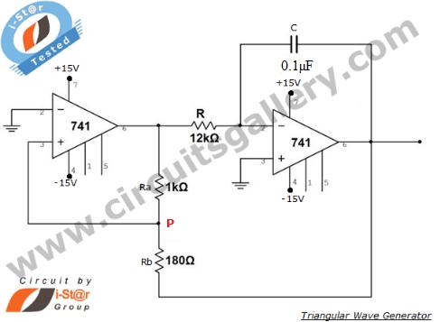 Triangular wave generator using Op Amp 741, circuit