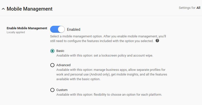 プロファイル と デバイス 管理