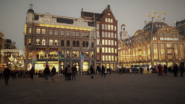 Dam, one of main squares in Amesterdam, with christmas lights