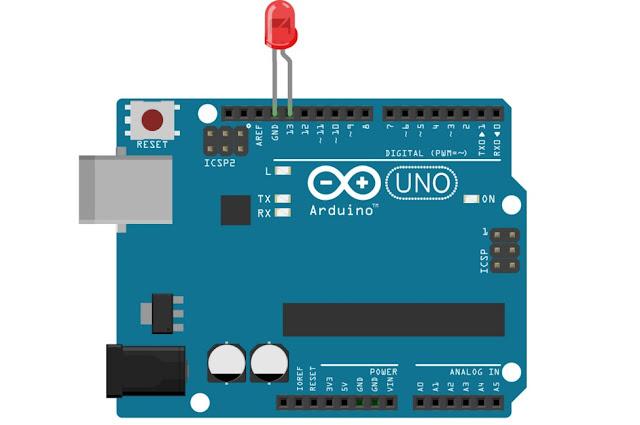 arduino की pin 13 में led को connect करें और program upload करें