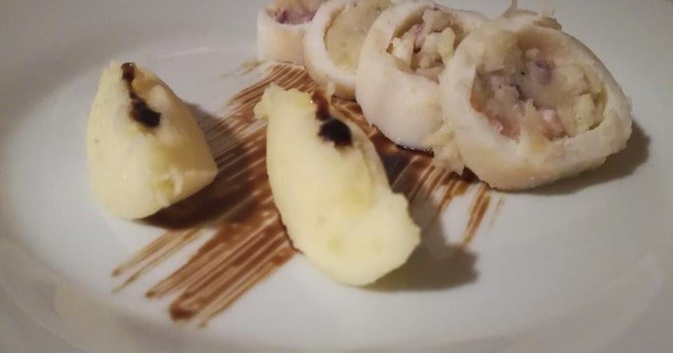Calamari ripieni al forno e purea di patate