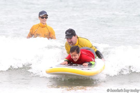 Front: Jordan Toheriri, 9, Hastings, who is totally blind - Flight Centre Foundation Halberg Disability Water Sports Day at Waimarama Beach, Waimarama. photograph