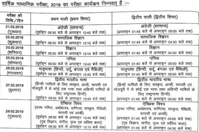 Bihar Board 10th Time Table 2019 बिहार बोर्ड 10 वीं एग्जाम रूटीन 2019 जारी