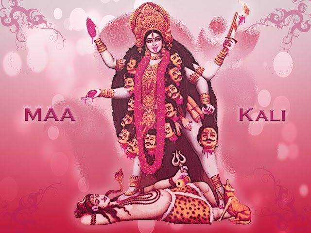 Maa Kali  Wallpaper In Red Background