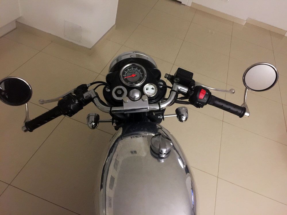 Motorcycle handlebars.