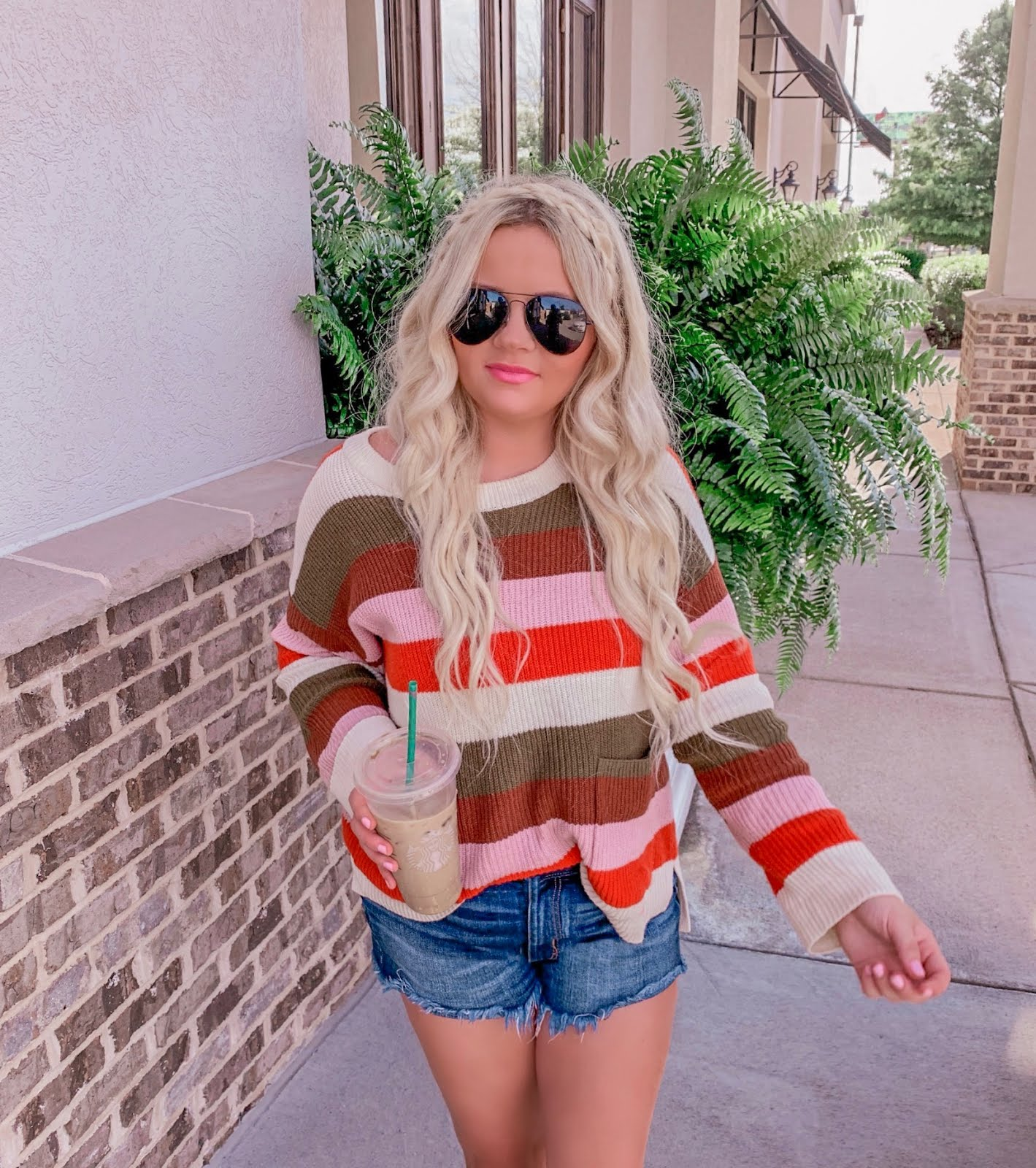 madewell striped pocket sweater with flare jeans for fall