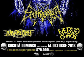 Enthroned, Purgatory y NervoChaos en Bogota