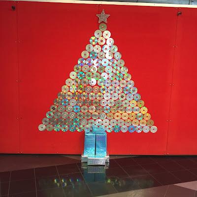 arbol de navidad reciclando cds
