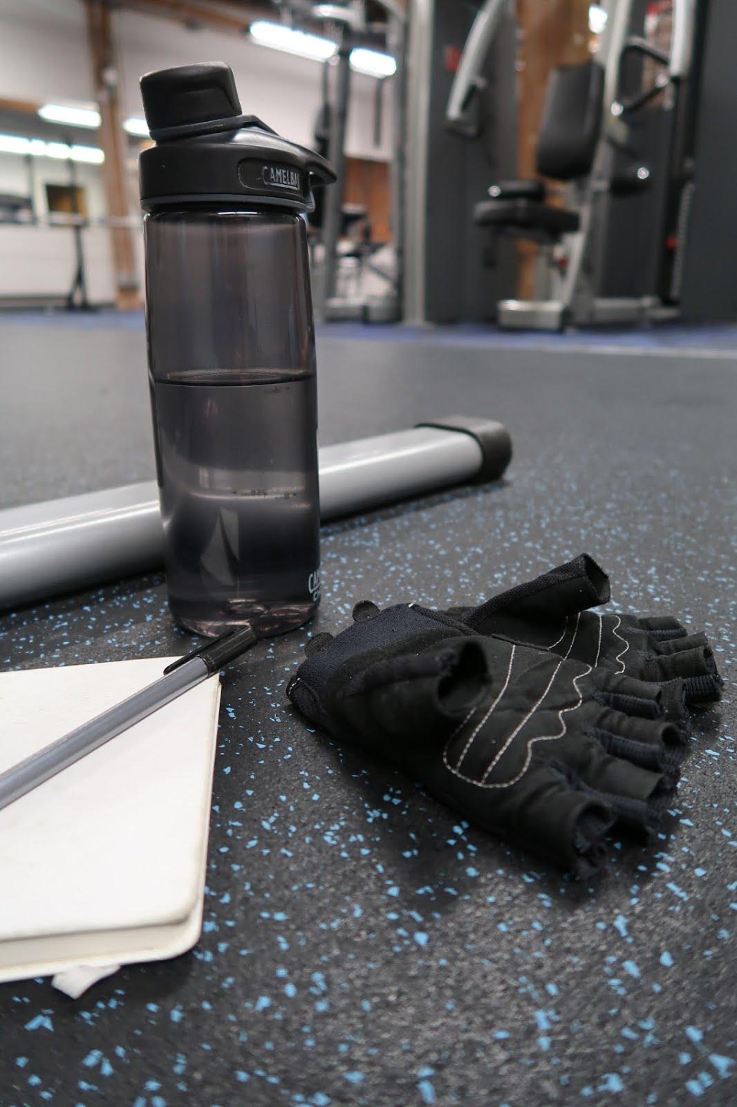 gym fitness workout routine plan schedule weight cardio water bottle moleskin notebook staedler triplus fineliner camelback weight gloves nike