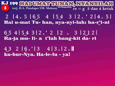 Lirik dan Not Kidung Jemaat 199 Hai Umat Tuhan, Nyanyilah