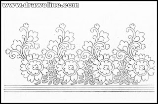 Machine embroidery saree design patterns pencil sketch on tracing paper.  Top 5 saree border design drawing for embroidery and hand works designs