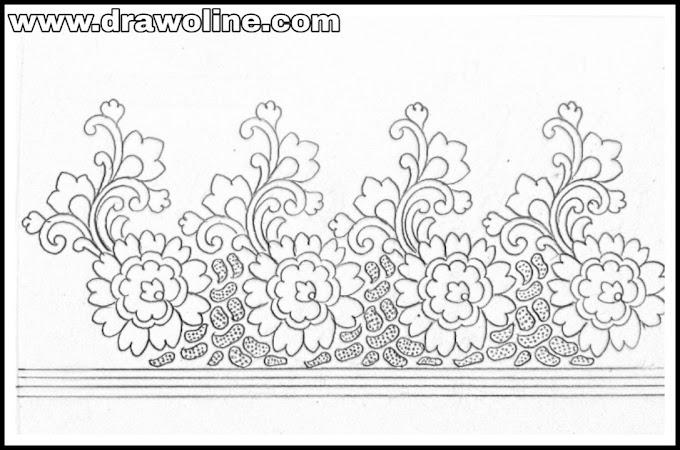 Saree border design drawing for hand emroidery/Sadi ka kinara drawing/how to draw saree border designs