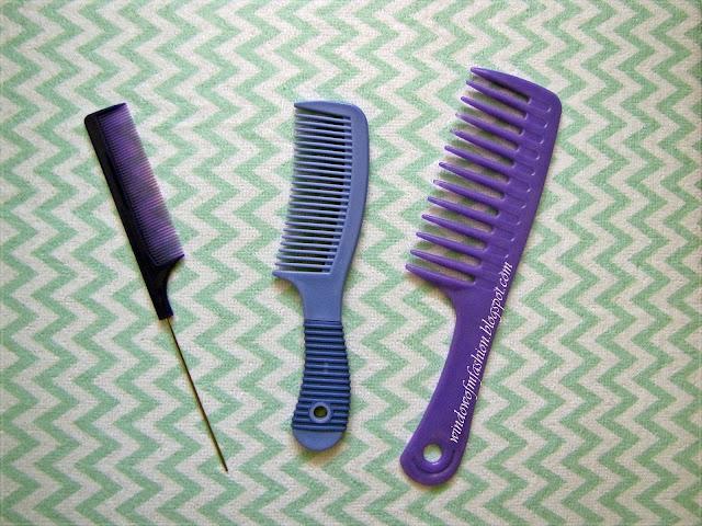 Grzebienie o różnym rozstawie ząbków: szeroki, średni, mały