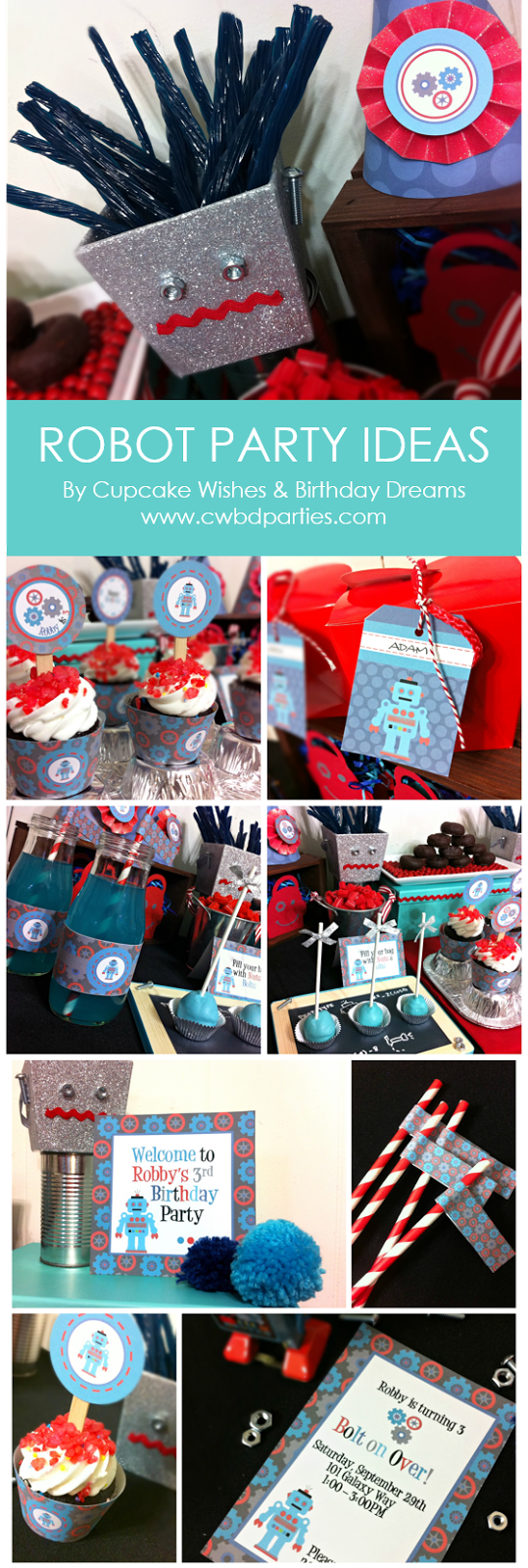 Robot Party Printables, Robot Party, Boys Party Ideas, Robot Treats, Robot Party Supplies