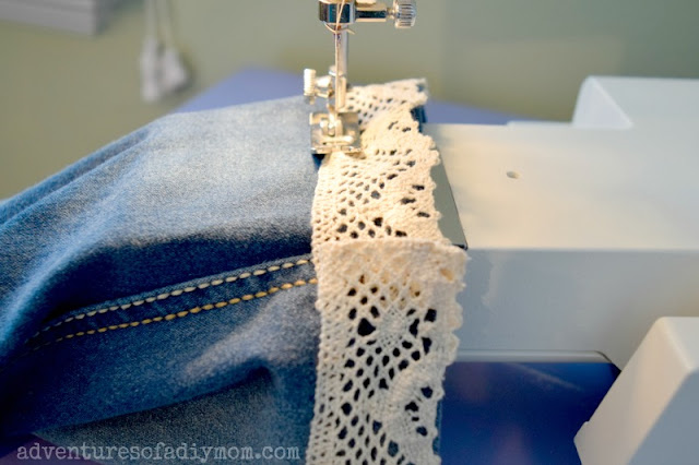 sewing lace onto cutoff shorts