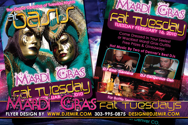 Oasis Nightclub Mardi Gras Tuesday Fat Tuesday Masquerade Party Flyer Design